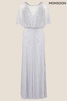 Monsoon Blue Taylor Embellished Maxi Dress