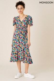 Monsoon Teal Tallulah Floral Jersey Wrap Dress