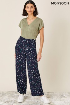 Monsoon Blue Tracy Printed Smart Trousers