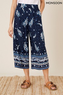 Monsoon Blue Paisley Print Crop Trousers In Lenzing™ EcoVero™