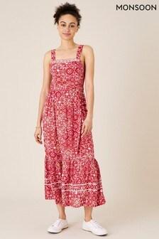 Monsoon Red Ebony Printed Sundress in Lenzing™ EcoVero™