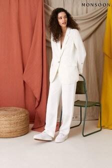 Monsoon White Smart Regular Length Linen Blend Trousers