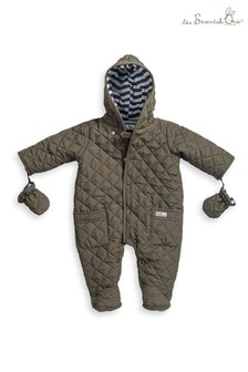 Baby Khaki Quilted Pramsuit