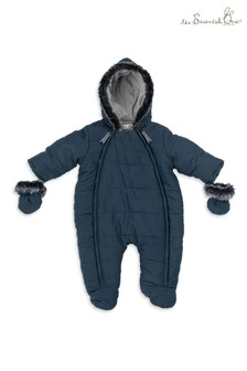 The Essential One Navy Baby Faux Fur Trim Snowsuit