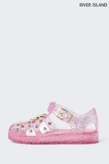 River Island Pink Studded Caged Jelly Shoes