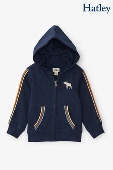 Hatley Blue Retro Moose Kids Heritage Full Zip Hoodie