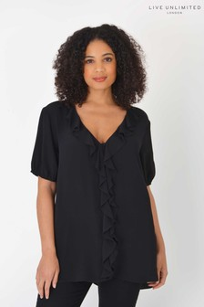 Live Unlimited Curve Sustainable Viscose Black Ruffle Top