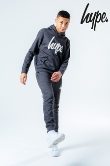 Hype. Charcoal Script Kids Hoodie And Joggers Set