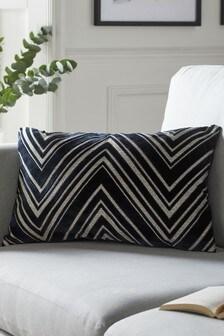 Navy Blue Chevron Cut Velvet Rectangle Cushion