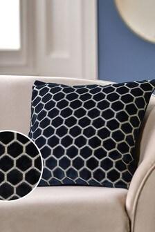 Navy Blue Hexagon Cut Velvet Square Cushion