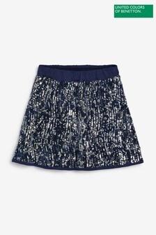 Benetton Navy Sequin Skirt
