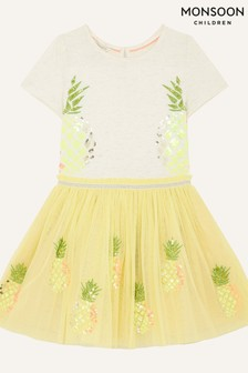 Monsoon Yellow Sequin Pineapple Disco Dress