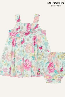 Monsoon Blue Newborn Floral Dress And Knickers