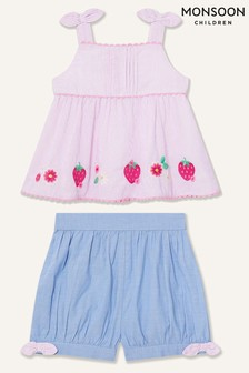 Monsoon Pink Baby Strawberry Top And Shorts Set