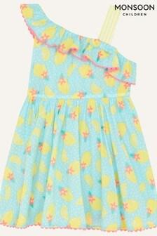 Monsoon Blue Baby Lemon Print Dress