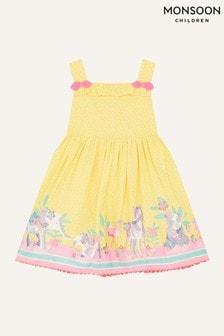 Monsoon Yellow Baby Animal Border Dress