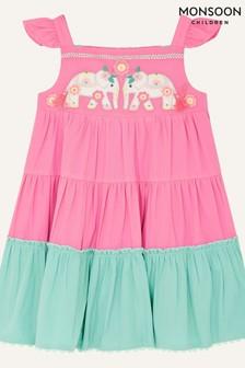 Monsoon Pink Baby Elephant Colourblock Dress