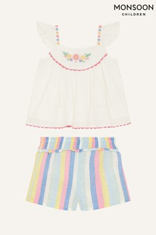 Monsoon Natural Baby Floral Stripe Top And Shorts Set