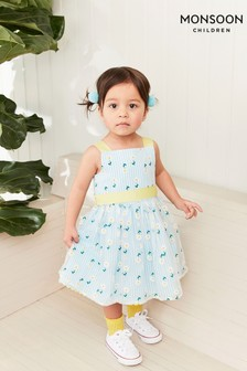 Monsoon Blue Baby Daisy Stripe Dress