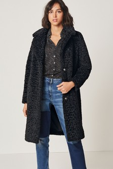 Longline Borg Teddy Coat