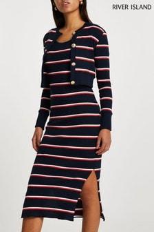 River Island Navy Long Sleeve Stripe Midi Dress Cardi Set