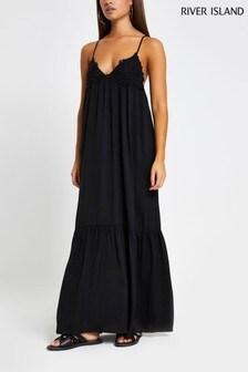 River Island Black Appliqué Cami Midi Beach Dress