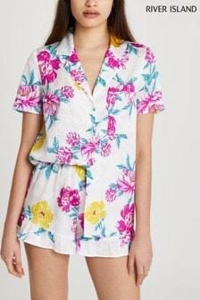 River Island Pink Light Floral Jacquard Pyjama Set