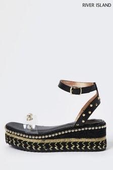 River Island Black Embellished Perspex Platform Sandals