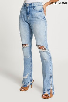 River Island Denim Light High Rise Long Slim Bleach Jeans