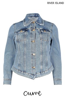 River Island Plus Denim Medium Collared Fitted Jacket