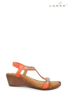 Lunar Orange Tabitha Glitzy Wedge Sandals