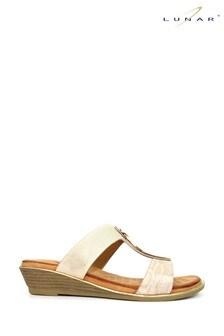 Lunar Beige Pennita Low Wedge Sandals