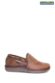 Goodyear Brown Manor Brown Full Slippers
