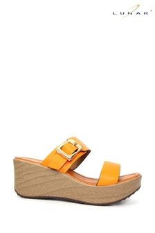 Lunar Orange Fawn Mule Wedge Sandals