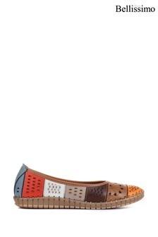 Bellissimo Orange Ladies Flat Leather Ballerina Shoes
