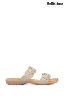 Bellissimo Gold Metallic Ladies Mule Sandals