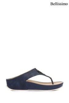 Bellissimo Navy Ladies Metallic Toe Post Sandals