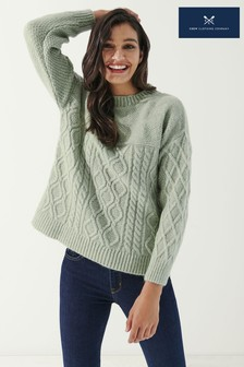 Crew Clothing Company Womens Natural Cabin Cable Jumper