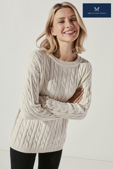 Crew Clothing Company Womens Natural Chunky Cable Crew Jumper