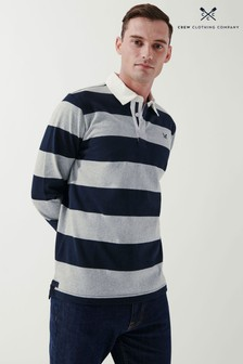 Crew Clothing Company Mens Natural Heritage Stripe Rugby Shirt