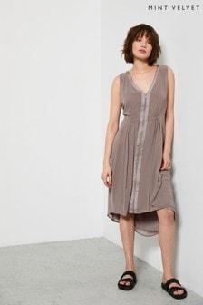 Mint Velvet Beige V-Neck Zip Cocoon Dress