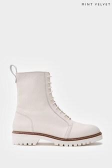 Mint Velvet Chelsea Beige Lace Up Boots