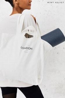 Mint Velvet White Cotton Canvas Tote Bag