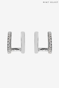 Mint Velvet Silver Plated Double Stud Earrings