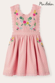 Boden Pink Embroidered Pinafore Dress