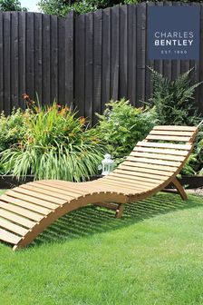 FCS Acacia Wooden Large Foldable Sun Lounger By Charles Bentley