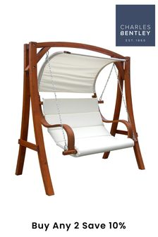 Wooden Swing Seat With Canopy By Charles Bentley