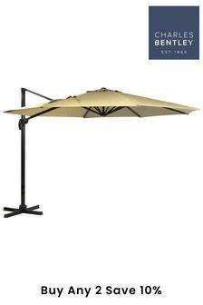 Premium Xlarge Hanging 3.5m Beige Banana Umbrella By Charles Bentley