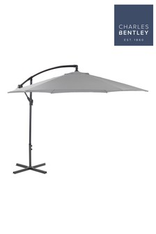 3M Hanging Banana Cantilever Light Grey Garden Umbrella By Charles Bentley