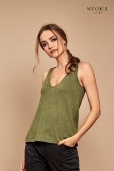 Sonder Studio Green Knitted Tie Back Detail Vest Top